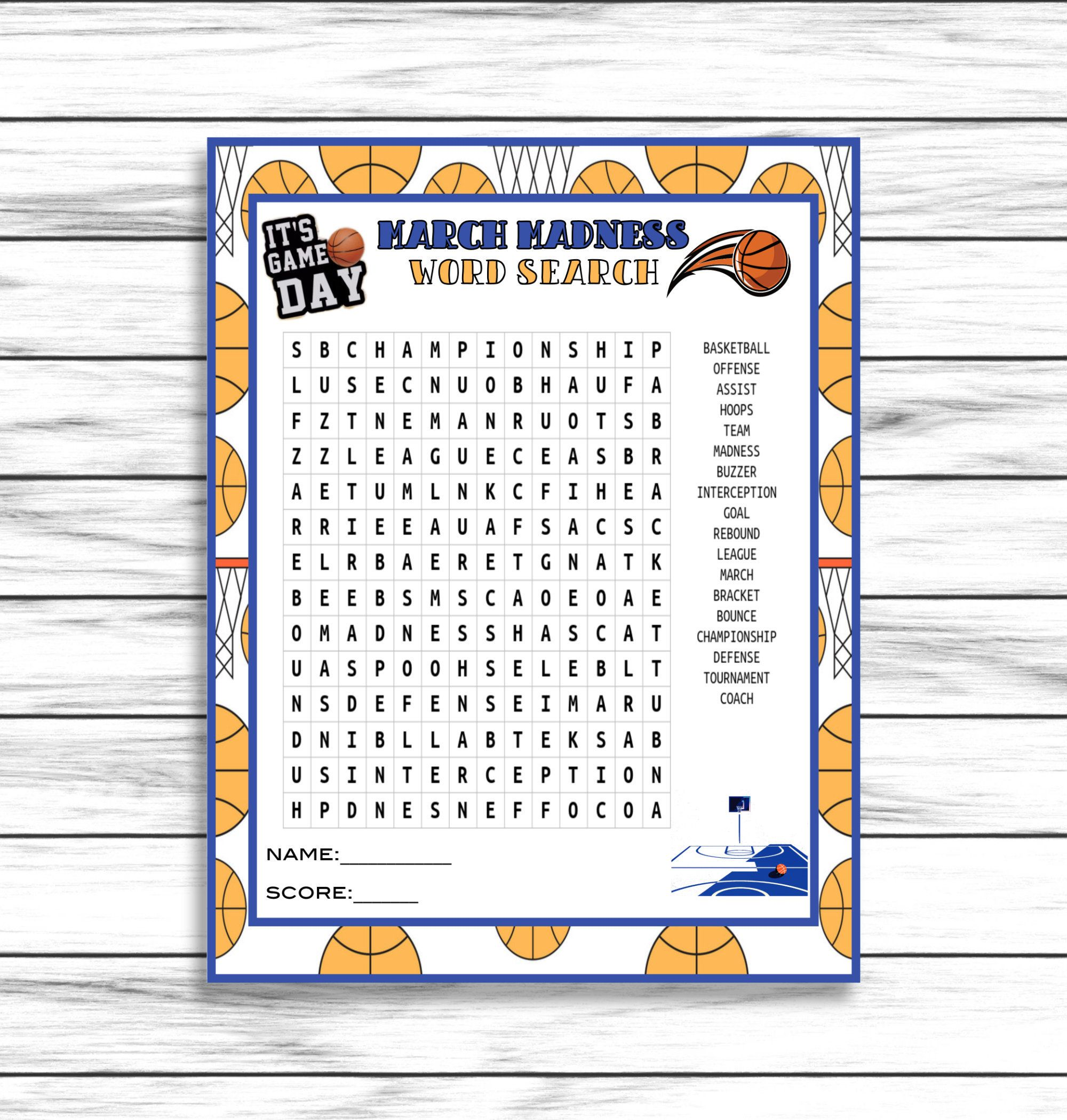Final Four Party Game March Madness Word Search College