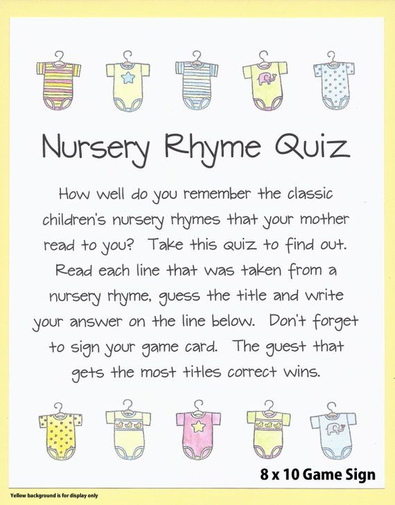nursery rhyme quiz baby shower game name the nursery rhyme baby