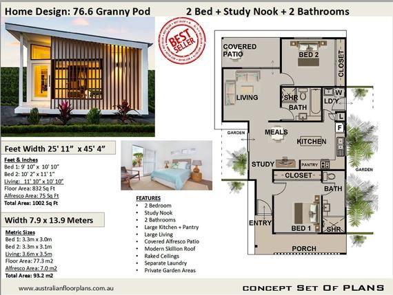 Small & Tiny Home Design Under 1000 sq foot house plan or 77 3 m2 2 Bedroom 2 Bathroom house plan