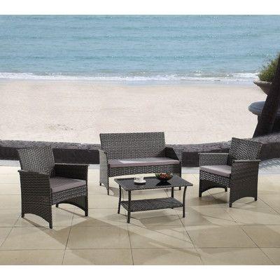 Trent Austin Design Barnhart 4 Piece Rattan Sofa Seating Group