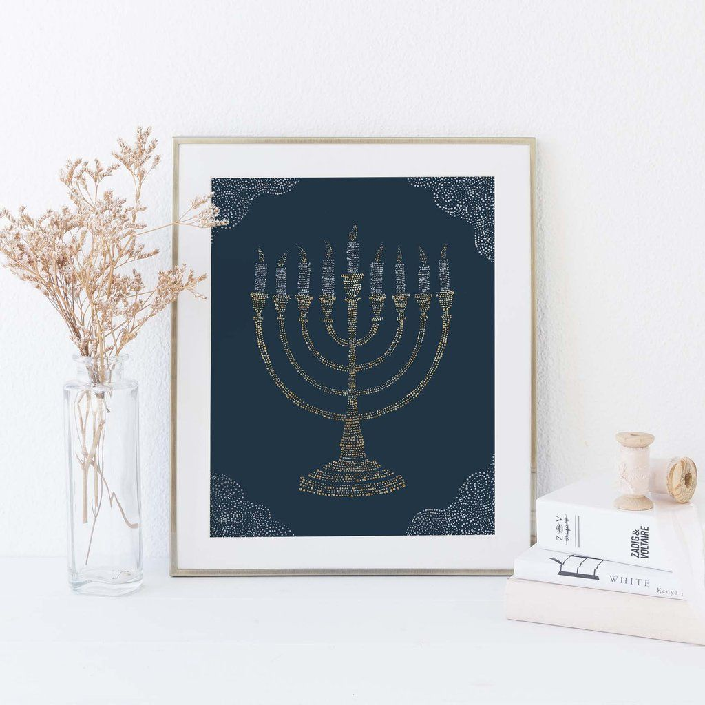 Menorah Blue And Gold Modern Hanukkah Wall Art Digital Download Print Wall Art Prints Menorah Hanukkah