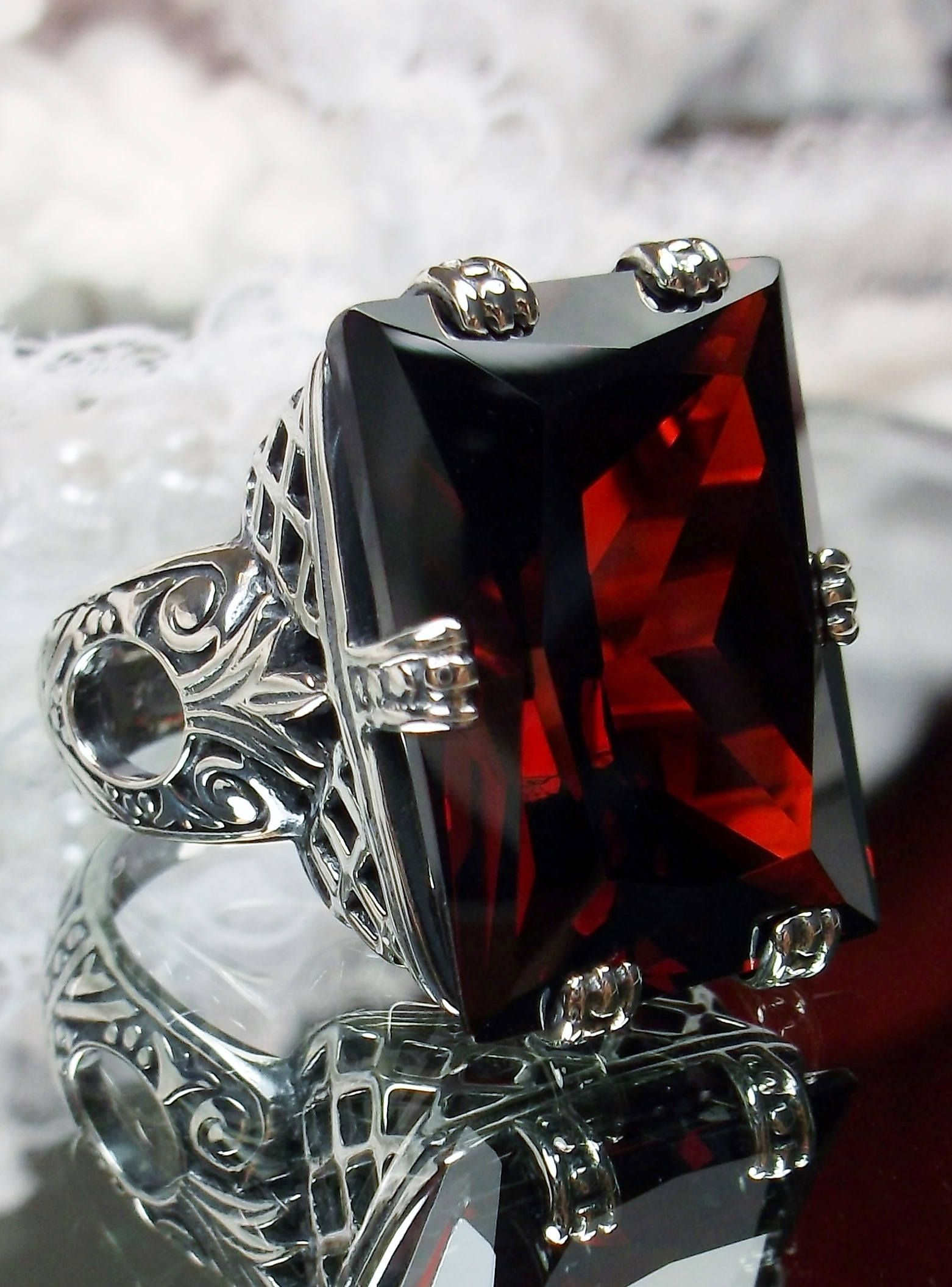 10ct Garnet CZ Sterling Silver Heart Gothic Leaf Filigree Ring {Made To Order}