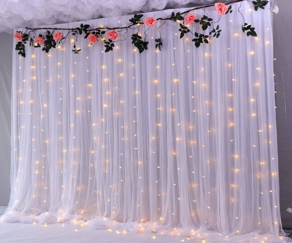 Grey Tulle Wedding Backdrop For Reception Romantic Full Pooling