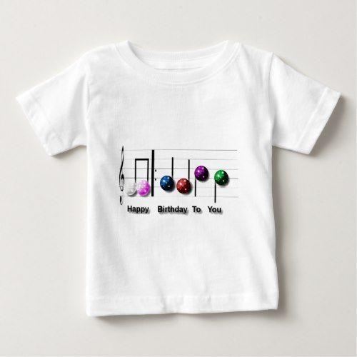 Happy Birthday Music Note Disco Balls Baby T-Shirt