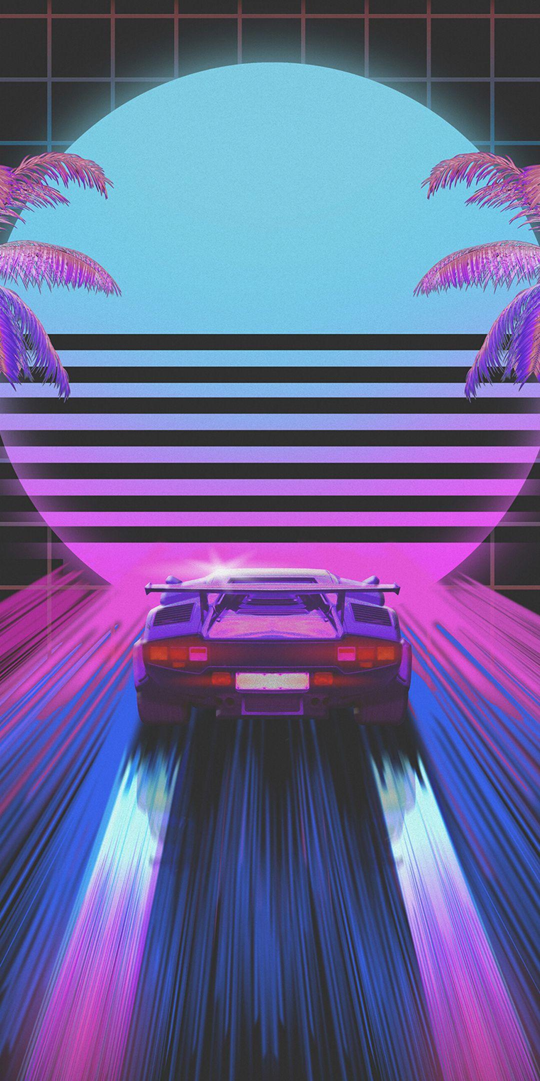 Classic Car Retro Art Wallpaper Vaporwave Wallpaper Neon Wallpaper Retro Wallpaper