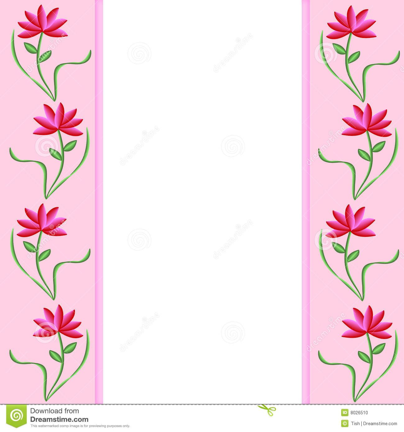 Pink Flower Border Pink Borders With Pretty Pink And Red Flowers
