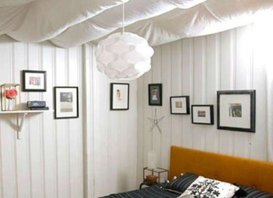 Craft A Canopy For Your Ceiling If The Rafter In Unfinished Bat Feels Too Cold And Taste Soften It By Hanging Swaths