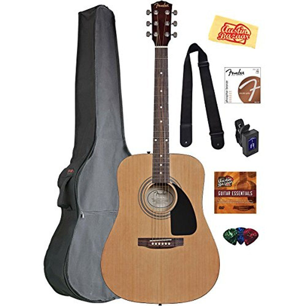 Acoustic guitar bundle with gig bag tuner strap pick dvd
