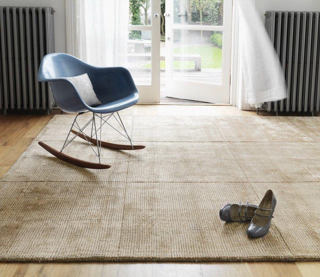 Teppich Wohnzimmer Carpet modernes Design UNI RUG Wolle Beige ...