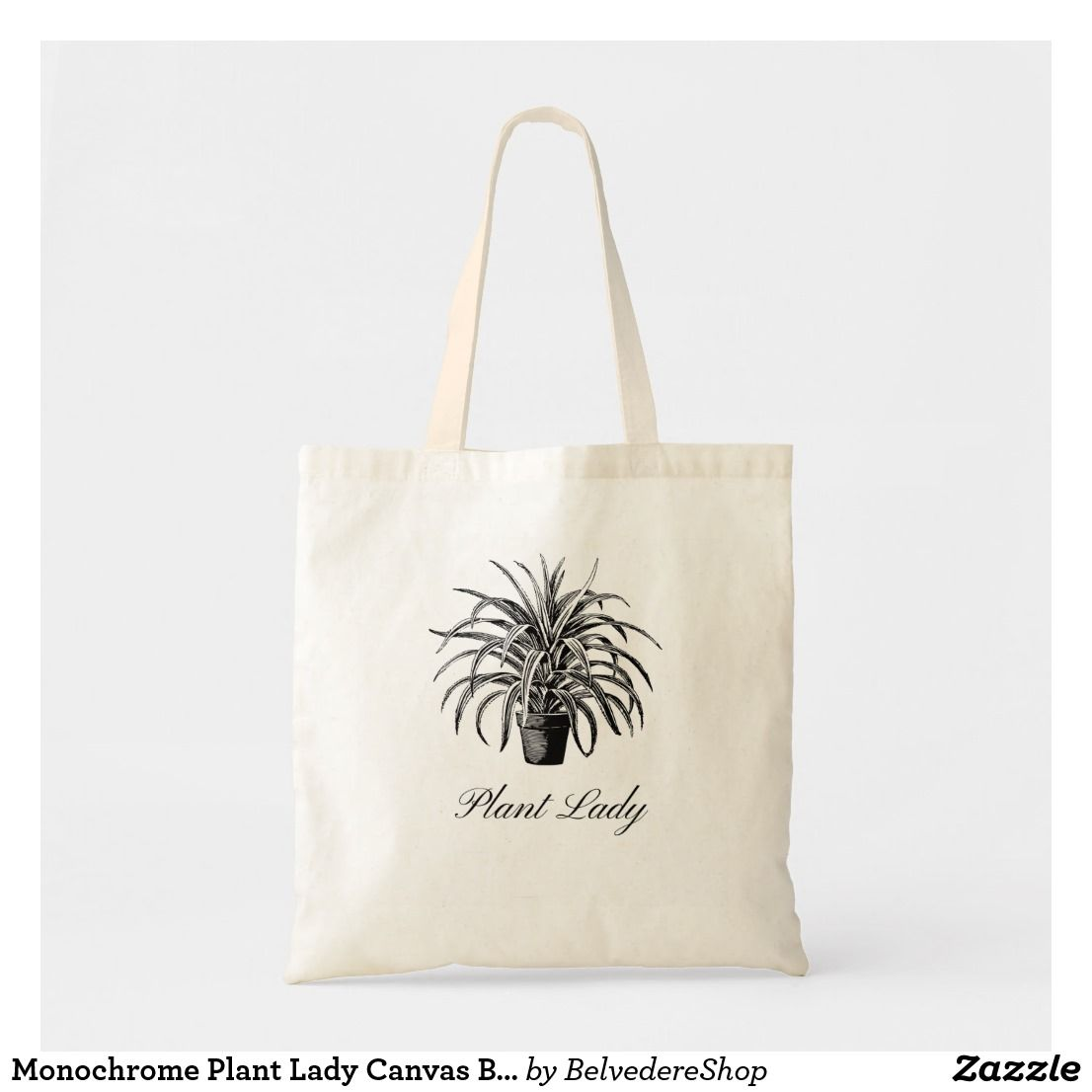 Monochrome Plant Lady Canvas Tote Bag Zazzle Com In 2020 Tote Bag Bags Tote