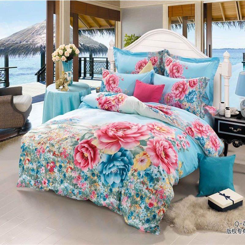 Bright Color 3D Beautiful Flowers Blue Bedding Set Queen King Size Cotton  Fabric Duvet Cover Pillowcase