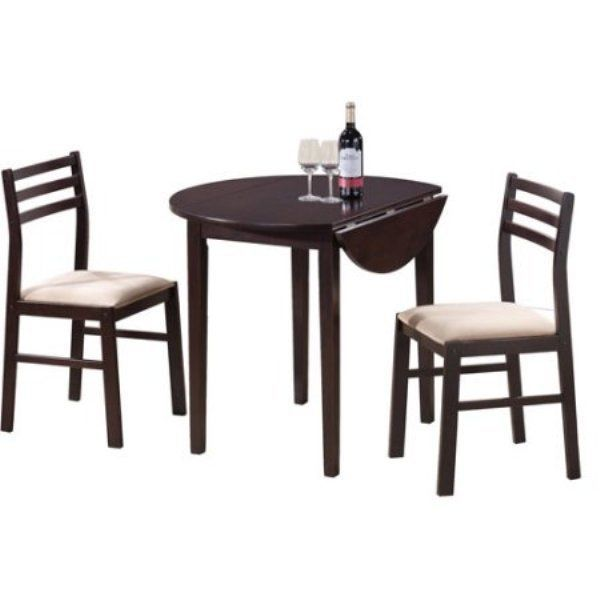 Small Dining Room Set 3-Piece Counter Height Kitchen Breakfast Table ...