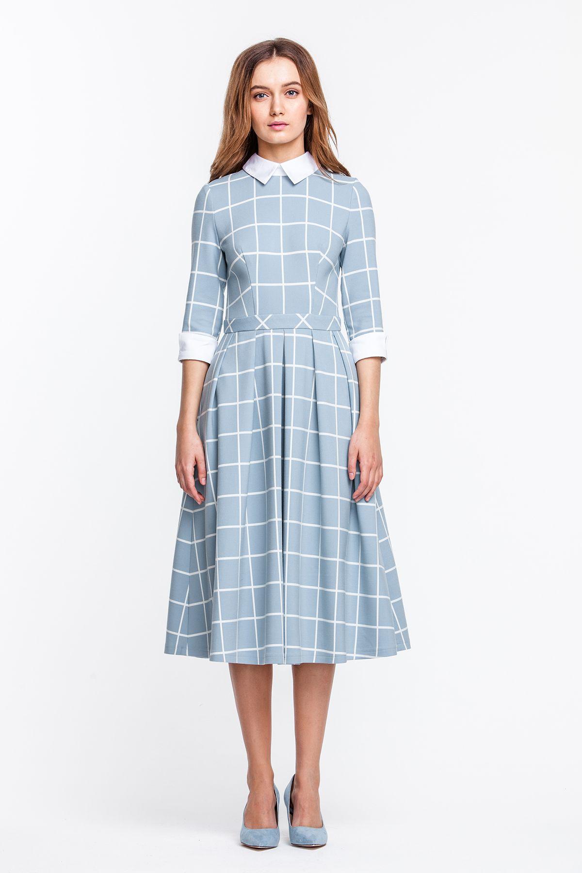 1a8bed35c2f 2233 Платье голубое в белую клетку