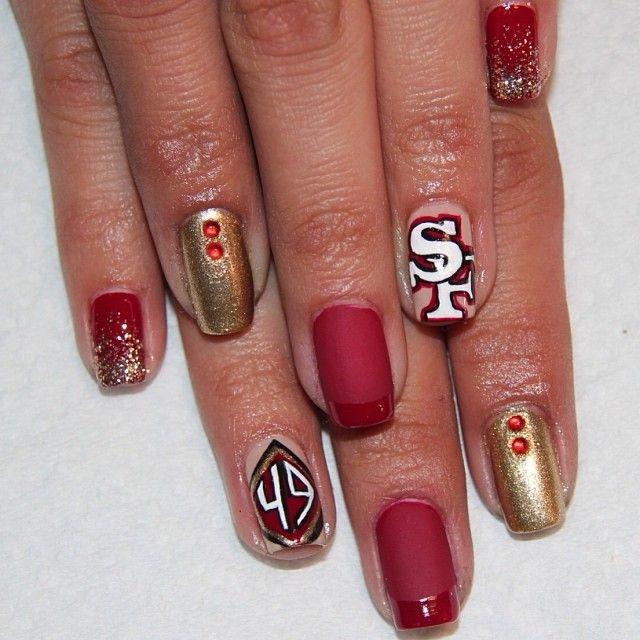 San Francisco 49ers By Handjobsbyallison Nail Nails Nailart Kuku Desain Kuku Kuku Cantik