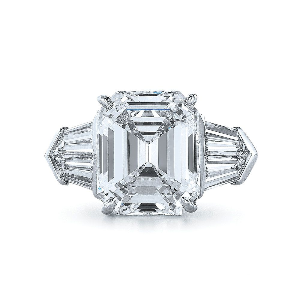 Emerald Cut Diamond And Platinum Beautiful Ring With Four Tapered Baguettes  In A Unique Design