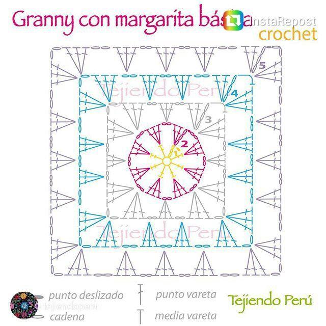 Granny cuadrado con margarita | crochet | Pinterest | Cuadrados