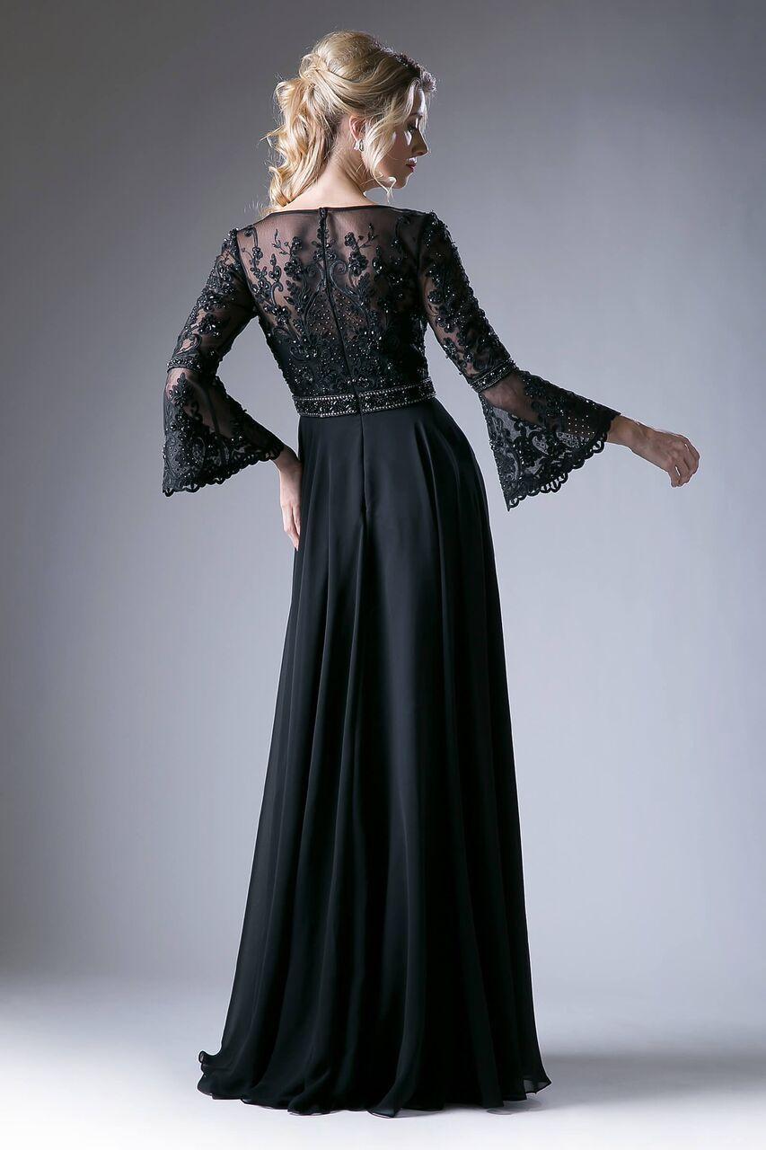 Long Elegant Black Formal Party Dress Long Sleeve Mother