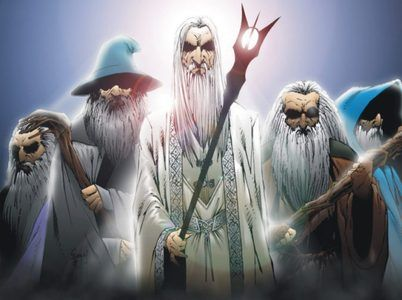 the istari the two blue wizards saruman in the middle gandalf
