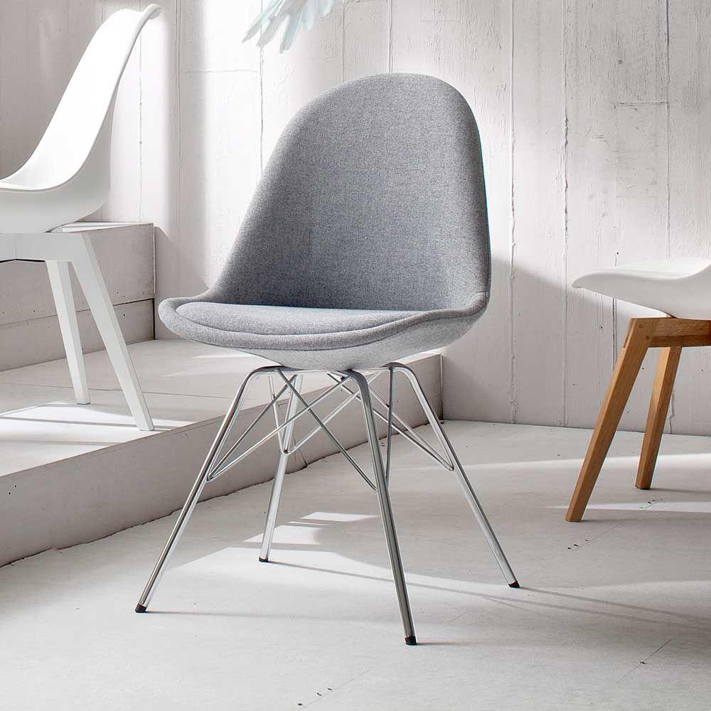 Retro Stuhl in Grau Stoff modern (2er Set) Jetzt bestellen unter ...