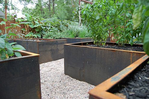 Charming Steel Planters For Herb Garden In Classic English Garden Style.