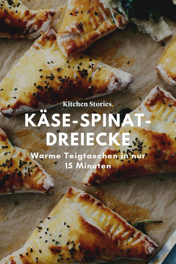 Käse-Spinat-Dreiecke | Rezept mit Video | Kitchen Stories #vegetarischerezepteschnell