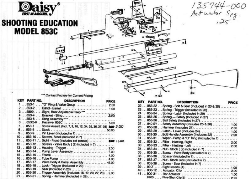 Daisy Air Rifle Parts List Models 850 851 Daisy Airgun