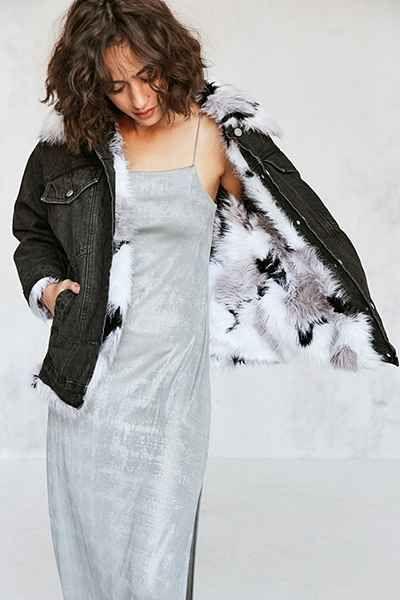BDG Faux Fur Lined Denim Trucker Jacket