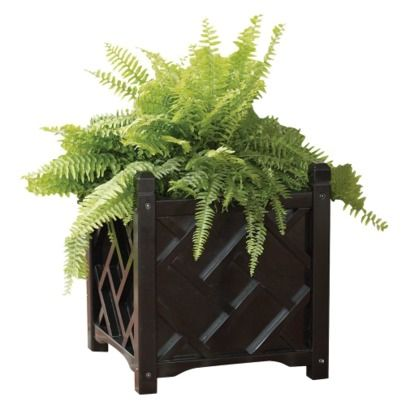 Chippendale Square Planter - Black - 14 inch