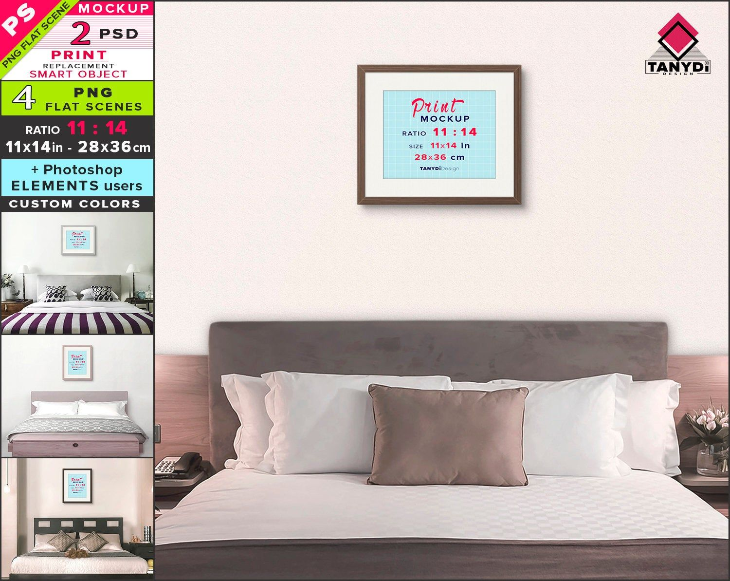 11x14 Frame On Bedroom Wall Photoshop Print Mockup 4 Png Etsy Print Mockup Bedroom Wall Photoshop
