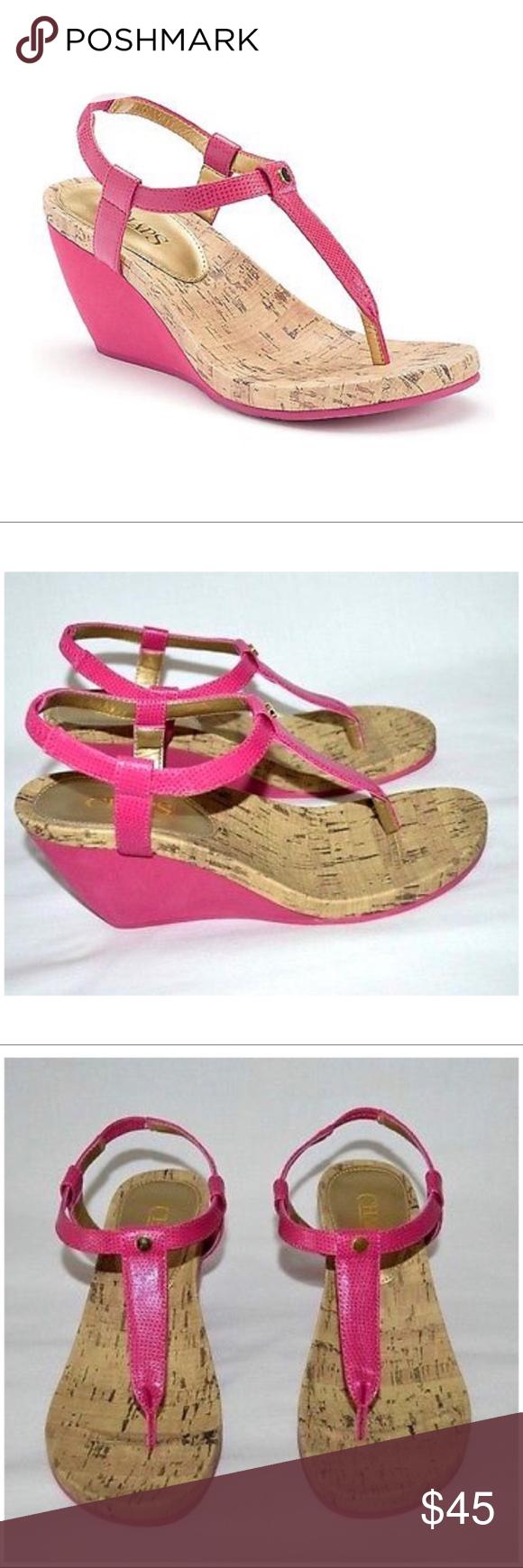 39718eccef4 Chaps Pink Thong Wedge Sandals NWT