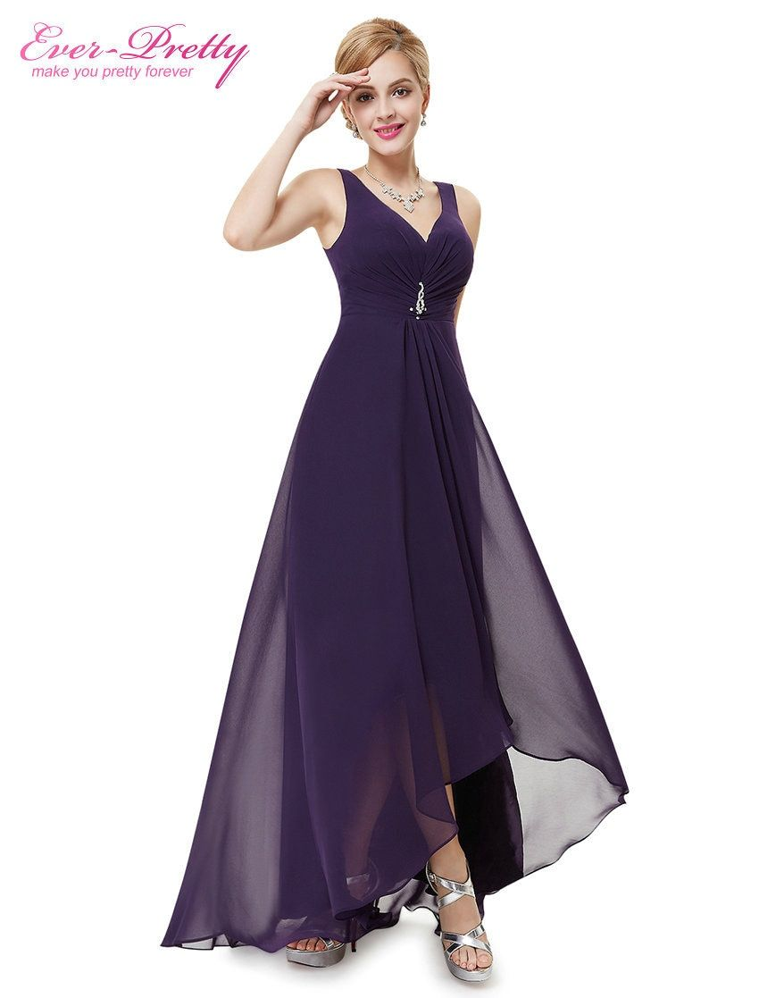 Formal Evening Dresses EP09983 Ever Pretty 2019 New Arrival Real Photo Plus Size Double V Neck Rhinestones Long Evening Dress - Dark Purple, 12