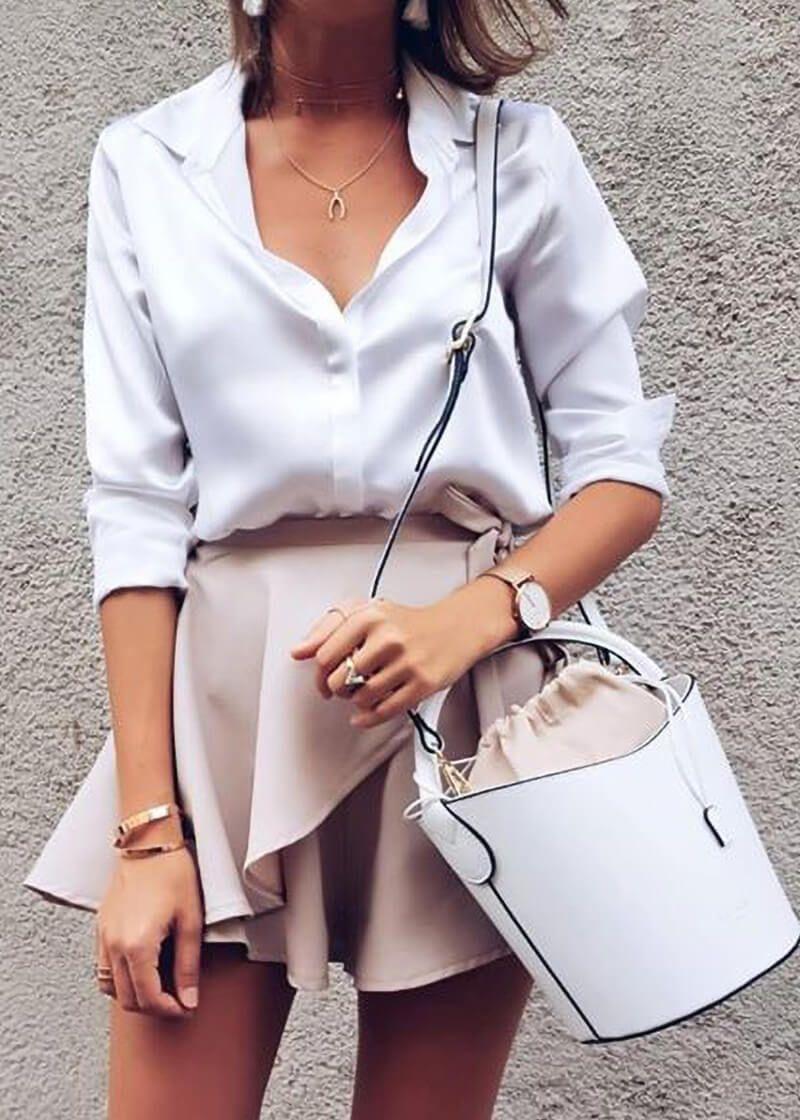 b2704cdd5b8425 Basic Concealed Placket Silk Shirts in 2019   fashion   Fashion, How ...