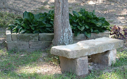 Natural Stone Slab Bench, Bench Of Three Large Stone Slabs.