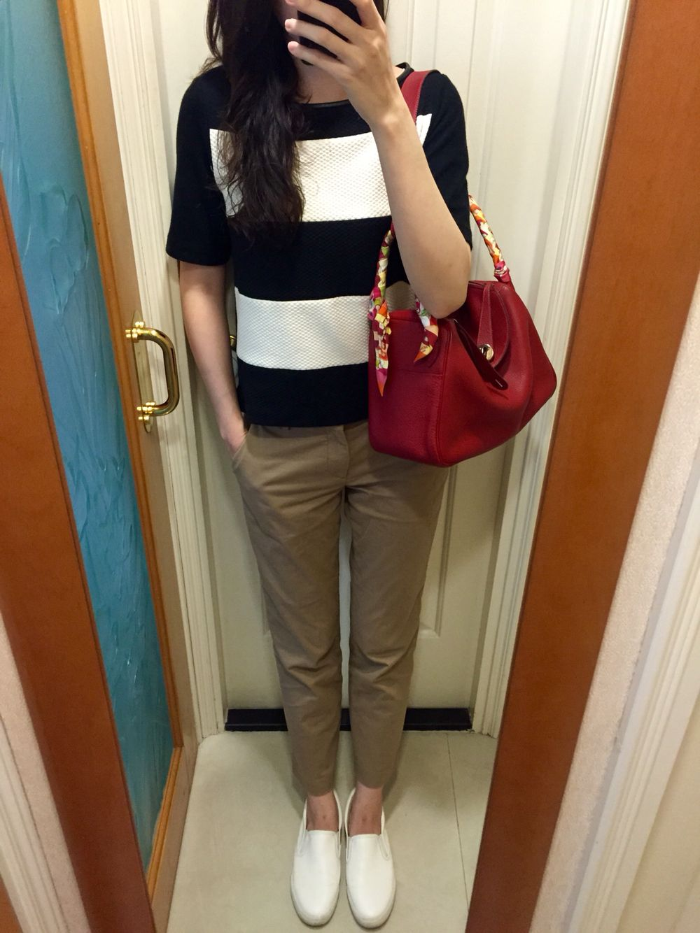 Zara Stripped Top Uniqlo Chinos Comme Ca Store Slip On