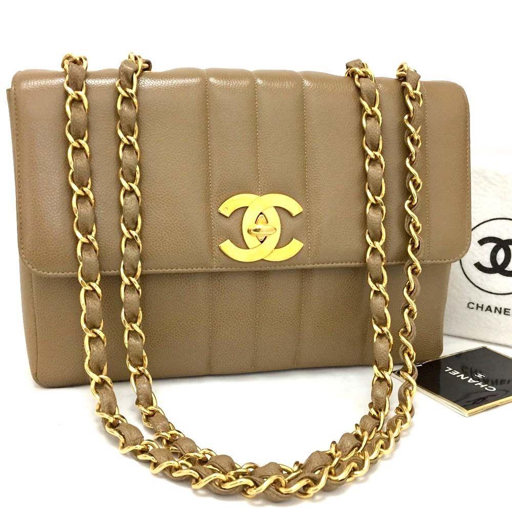 63ad2f593788 CHANEL Jumbo 30 Mademoiselle Caviar Skin w/Chain Shoulder Bag Beige /r226
