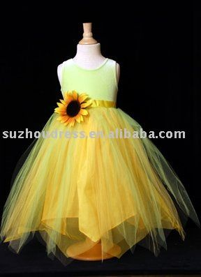 Ivory yellow flower girl dress