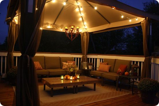 I Like The Idea Of An Old Chandelier Hanging Below Our Pergola And Painting It A Bright Color And Using Candles Deck Decorating Home Gazebo Lighting