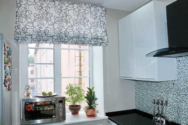 fabric roman shades for modern kitchen decor | New house design ...