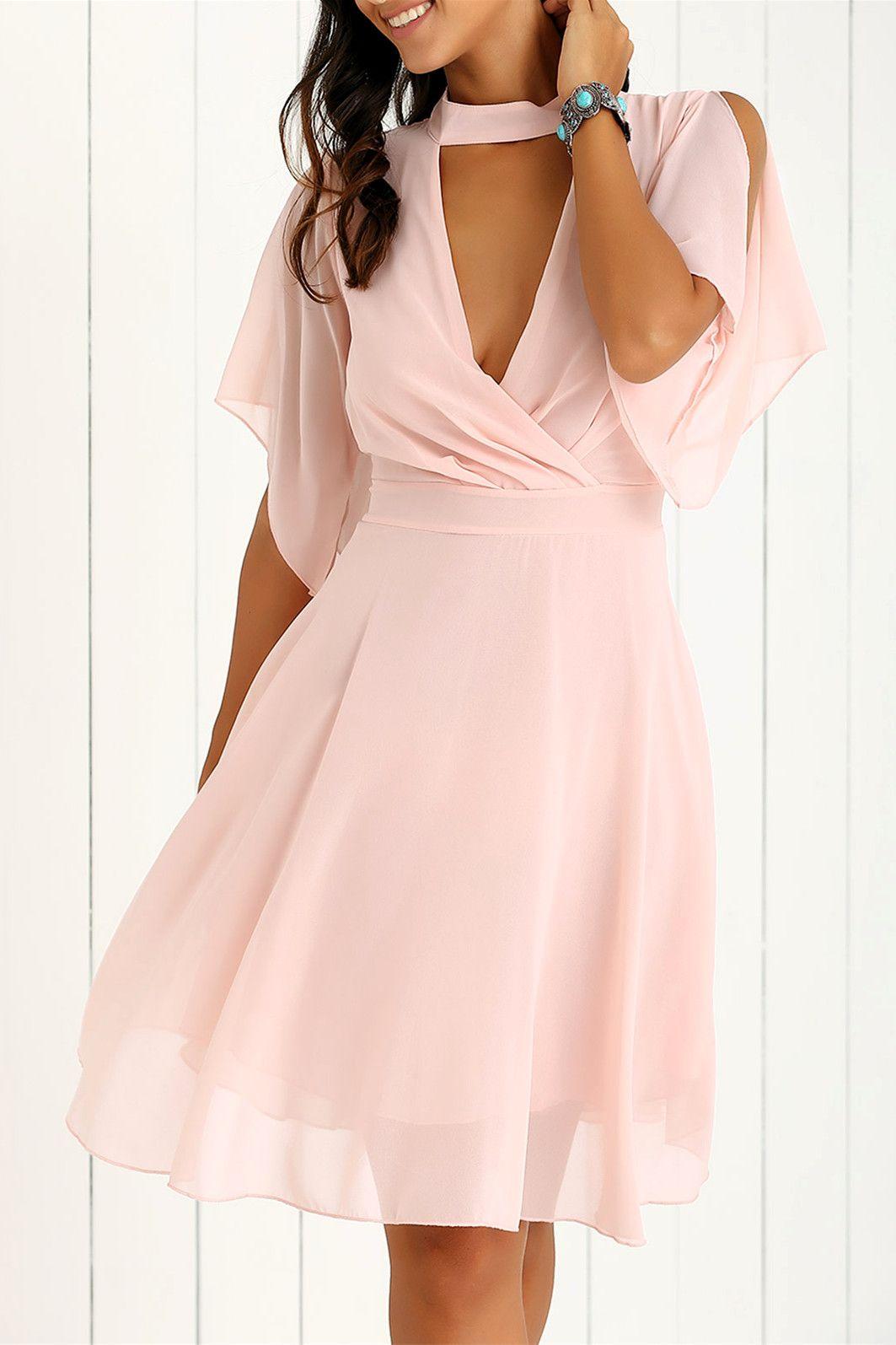 Petal Sleeve Knee Length Chiffon Pastel Pleated Dress - Pink - 2xl ...