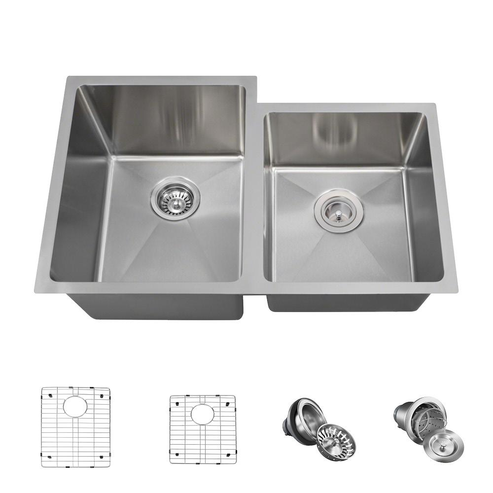 Mr Direct All In One Undermount Stainless Steel 32 In Left Double Bowl Kitchen Sink Brushed Satin Sink Double Bowl Kitchen Sink Stainless Steel