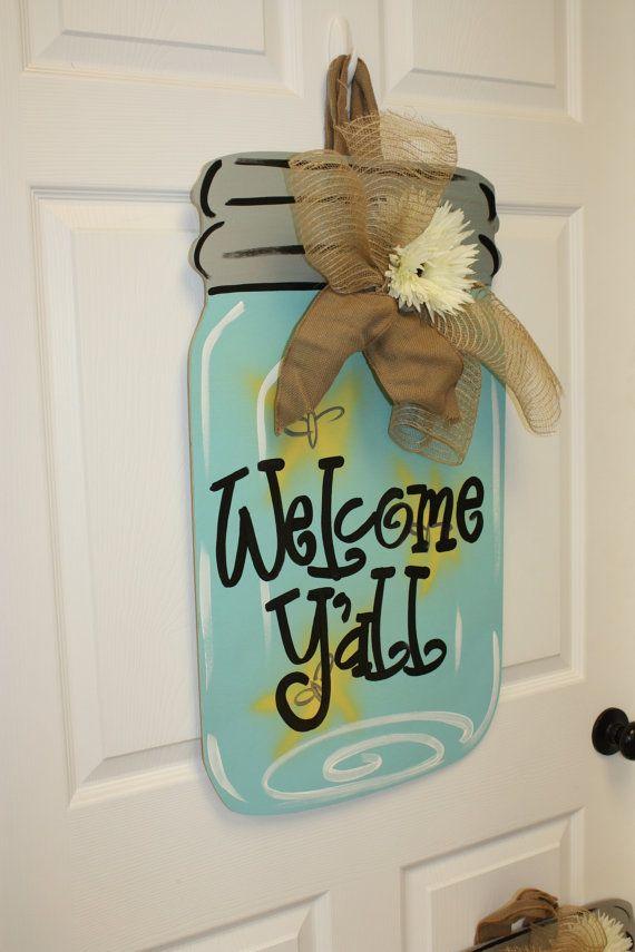 Mason Jar Wood Door Hanger