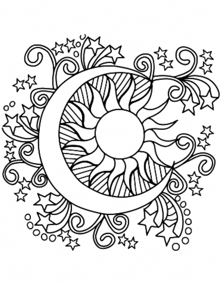 Pop Art Sun Moon And Stars Coloring Coloring In 2020 Moon Coloring Pages Star Coloring Pages Sun Coloring Pages