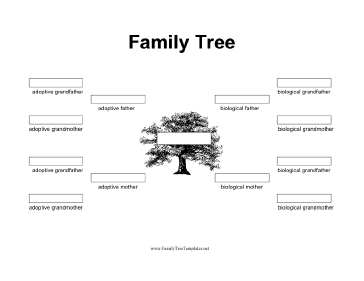 This black-and-white printable family day includes spaces on which to write the names of both biological and adoptive family members, to three generations. Free to download and print