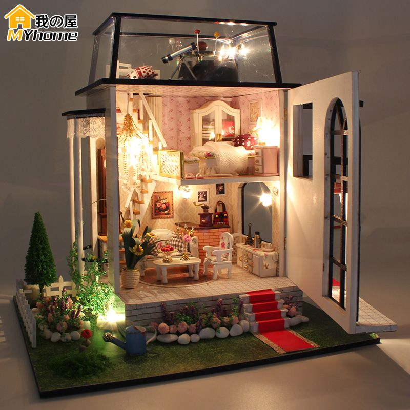Diy Doll House Miniature Wooden Building Model Little Prince Rose Dollhouse Furniture Model Toys