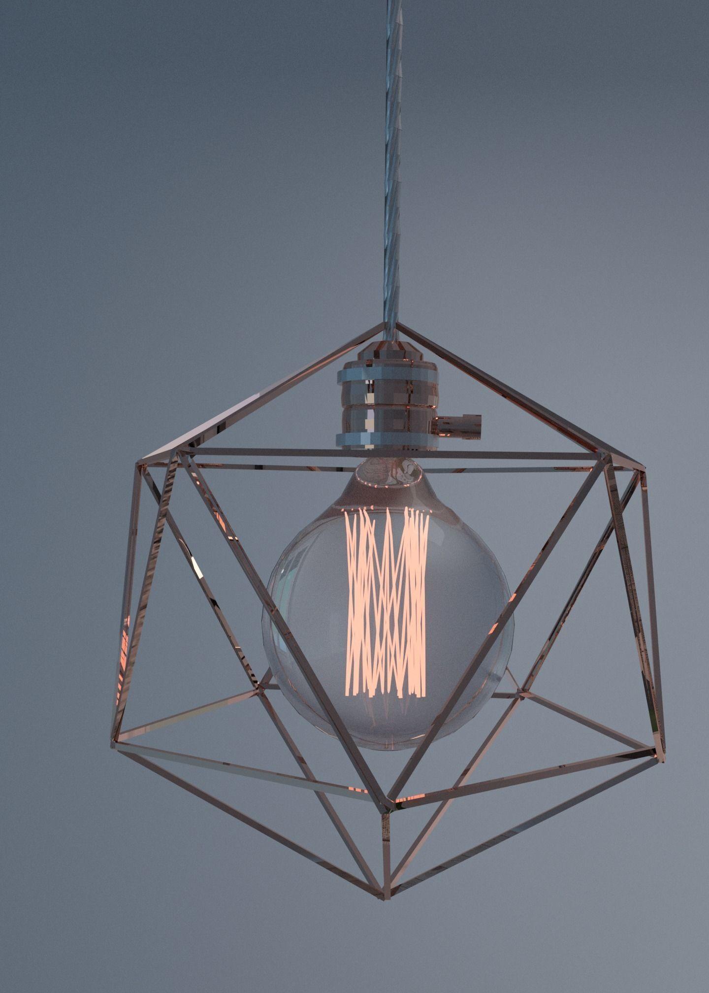 Geometric edison light bulb lamps 3d model obj 3ds fbx stl blend mtl 1