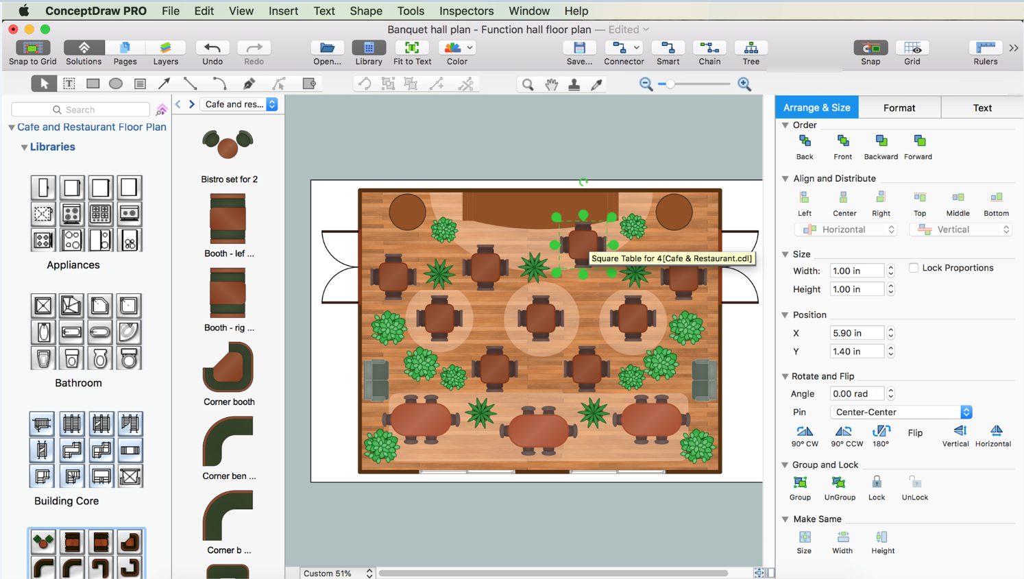 Banquet Hall Floor Plan Made In Conceptdraw Pro V11 On Macos