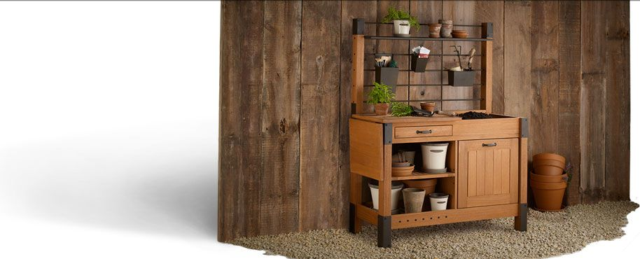 I Think This Smith Hawken Potting Bench Sold Thru Target Com Might Change My Life Potting Bench Potting Table Tall Cabinet Storage