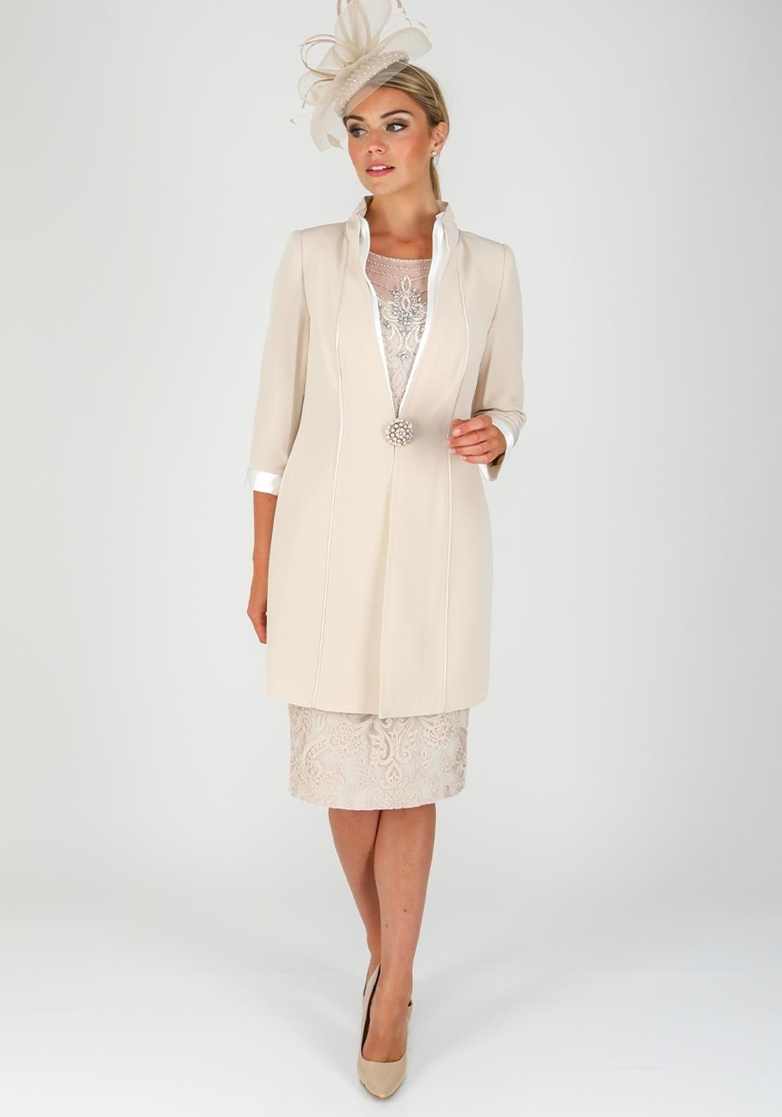 new concept no sale tax classic fit Veni Infantino for Ronald Joyce Lace Dress & Coat, Almond ...