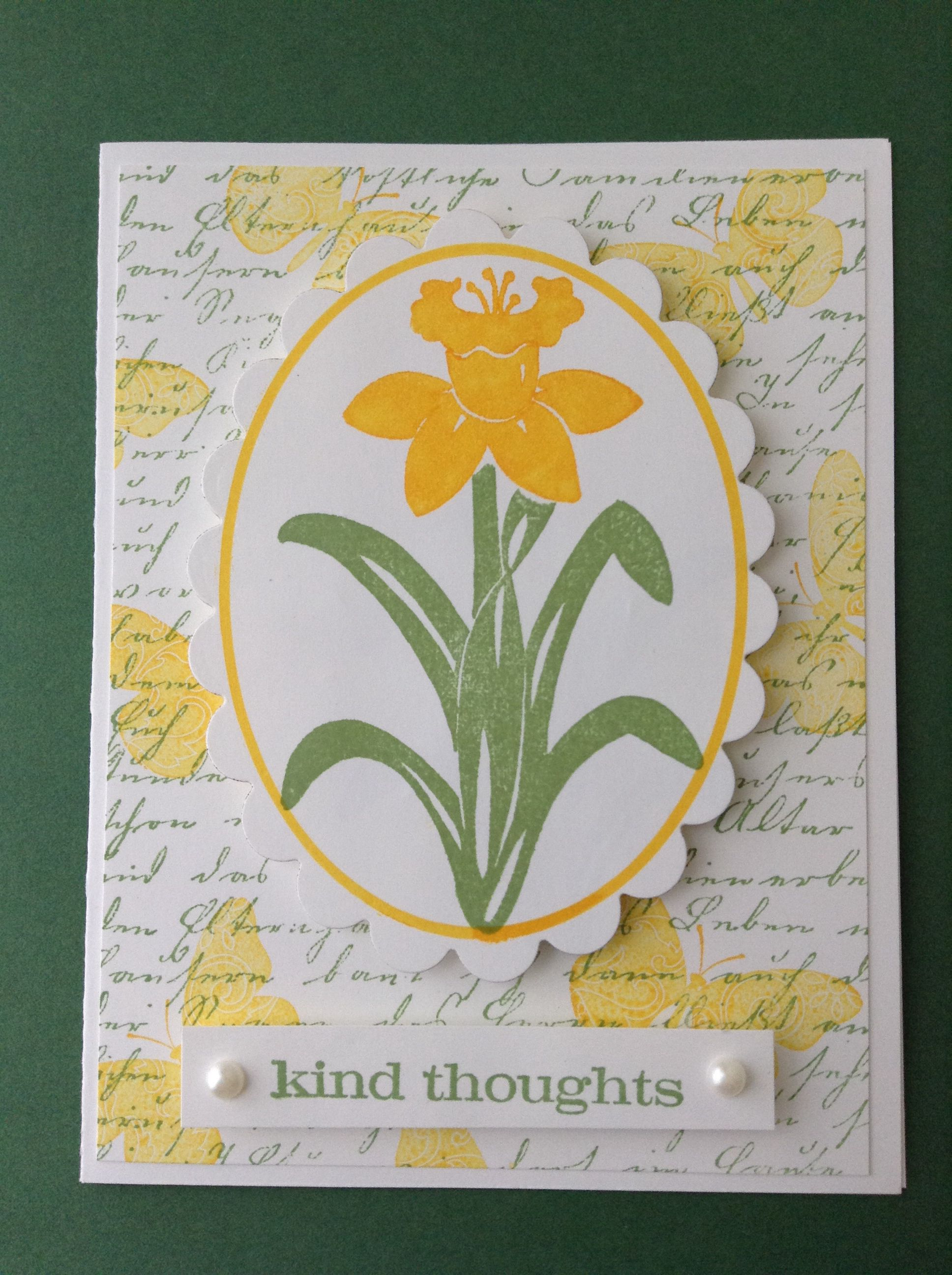 """Kind thoughts"" daffodil card."