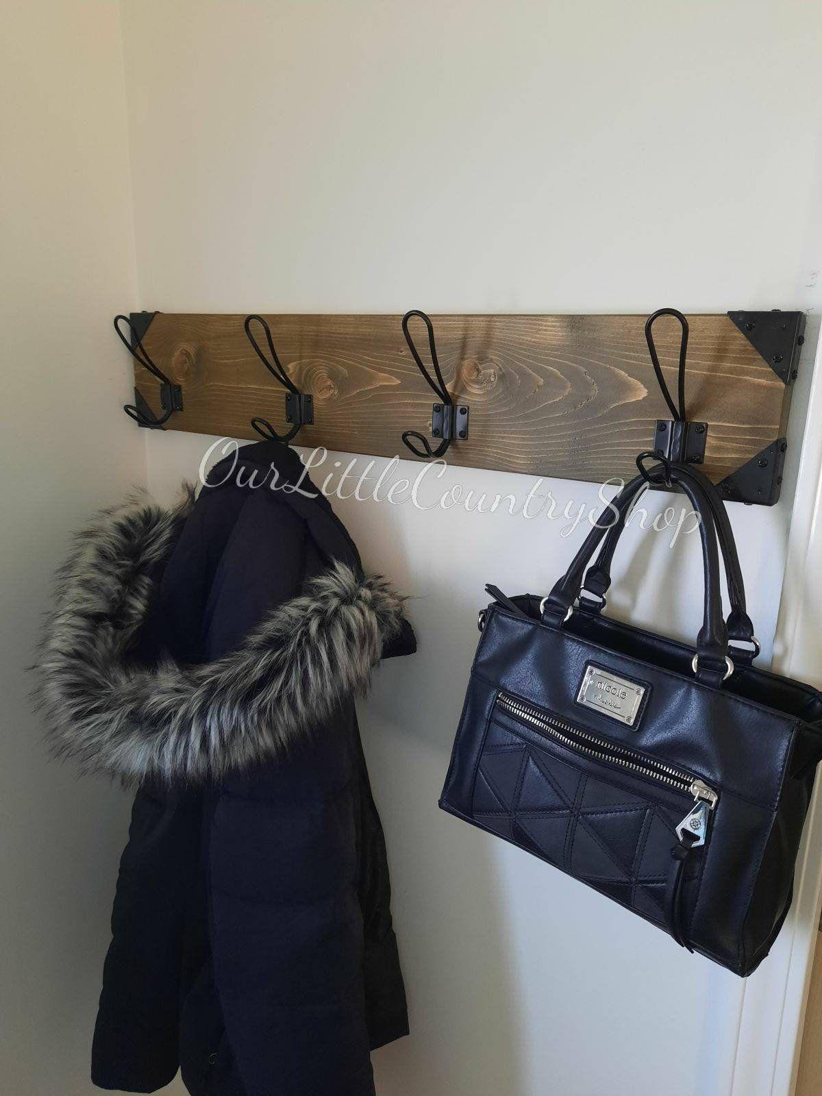 Farmhouse coat rack, Entryway coat rack, Bathroom towel hanger with hooks, Wall mount coat rack